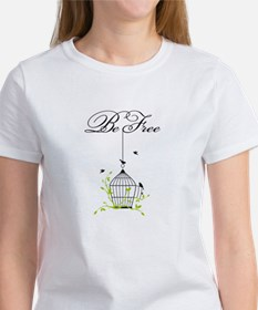 be free, open birdcage with birds and branches T-S