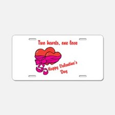 Two hearts one love Aluminum License Plate