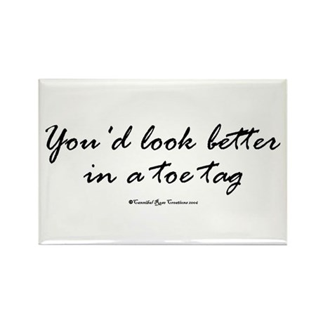Toe Tag Rectangle Magnet