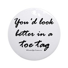 Toe Tag Ornament (Round)