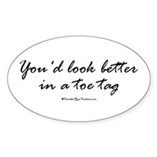 Toe Tag Oval Decal
