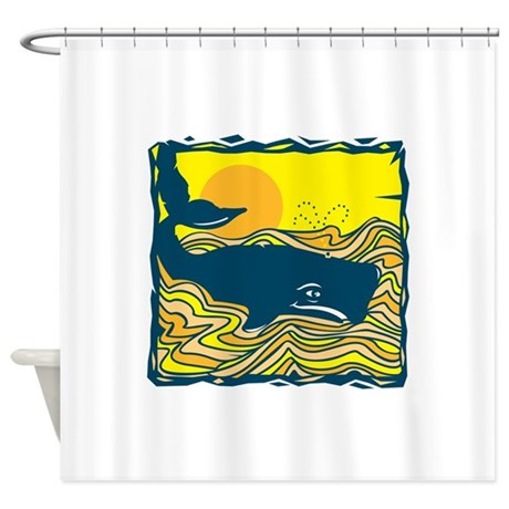 Swimming whale shower curtain by doonidesigns Swimming pool shower curtain