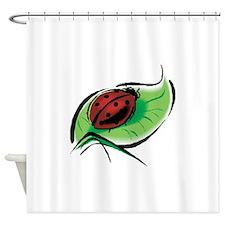 ladybug on leaf copy.png Shower Curtain