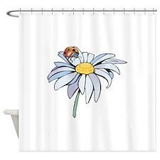 ladybug on white daisy.png Shower Curtain