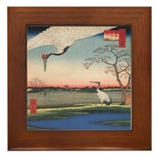 Japanese Cranes Framed Tile