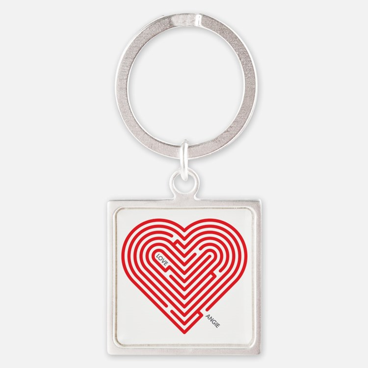 I Love Angie Square Keychain