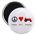 "Peace Love Red Tractor 2.25"" Magnet (10 pack)"