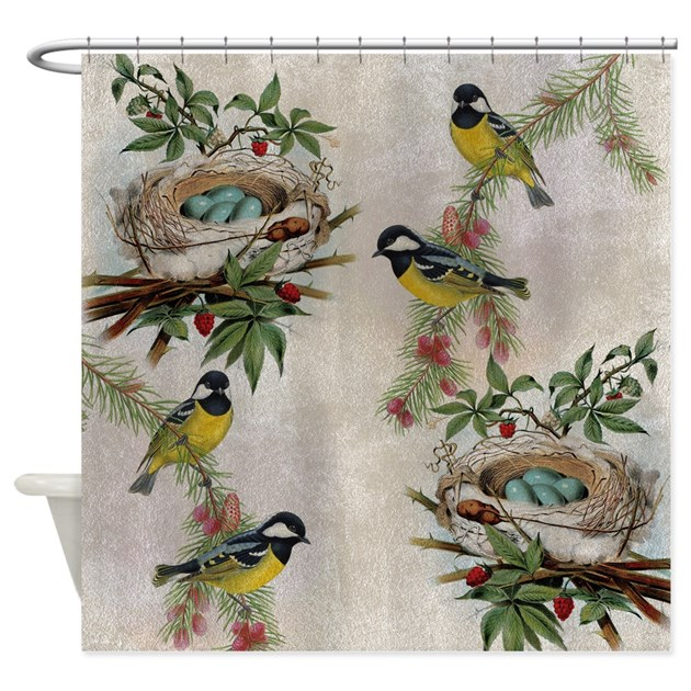 Vintage Birds And Nests Shower Curtain By Be Inspired By Life