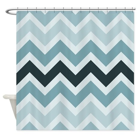 Triple Blue Chevron Shower Curtain By Be Inspired By Life
