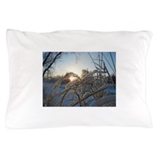 Snowflakes on Grass Pillow Case