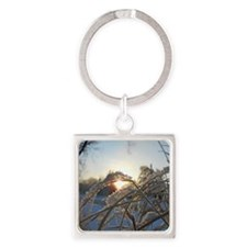 Snowflakes on Grass Square Keychain