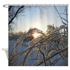 Snowflakes on Grass Shower Curtain