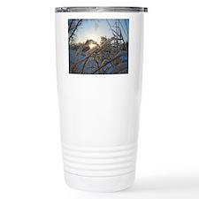Snowflakes on Grass Travel Mug