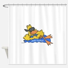 duck on raft.psd Shower Curtain