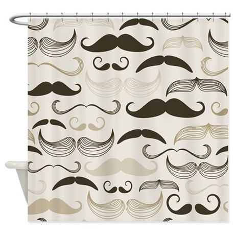 Old Fashioned Mustaches Shower Curtain