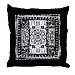 Indian Folk Art Throw Pillow
