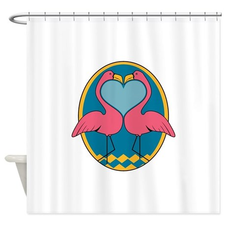 flamingo heart design.png Shower Curtain