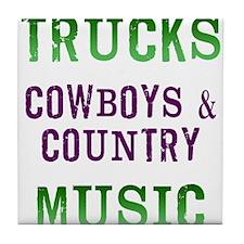 Trucks Cowboys Country Music Tile Coaster