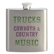 Trucks Cowboys Country Music Flask