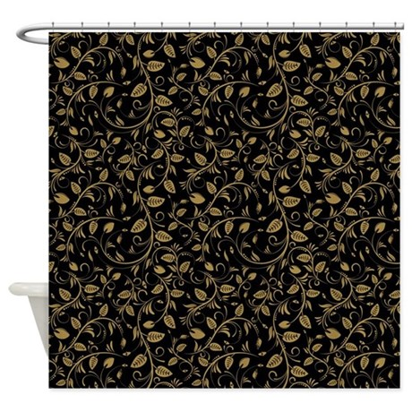 Black And Gold Curtain Fabric Sequin Shower Curtain
