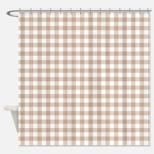 Cocoa and White Plaid Shower Curtain