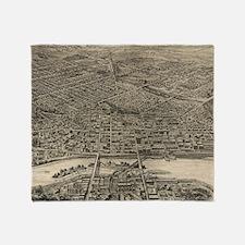 Vintage Pictorial Map of St. Paul Mi Throw Blanket