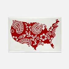 Red Paisley Rectangle Magnet