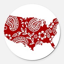 Red Paisley Round Car Magnet