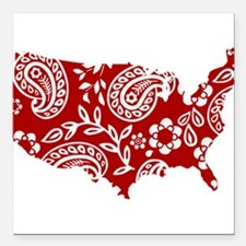 """Red Paisley Square Car Magnet 3"""" x 3"""""""