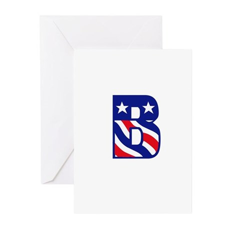 Patriotic Monogram B Greeting Cards (Pk of 10)