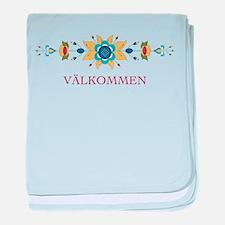 Scandinavian Floral Border baby blanket