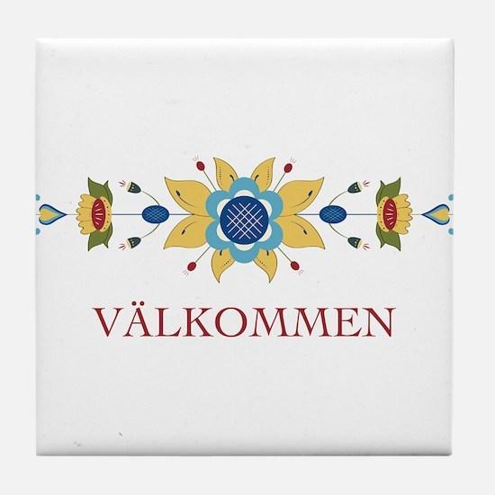 Scandinavian Floral Border Tile Coaster