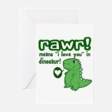 Cute! RAWR Means Love Greeting Cards (Pk of 10)
