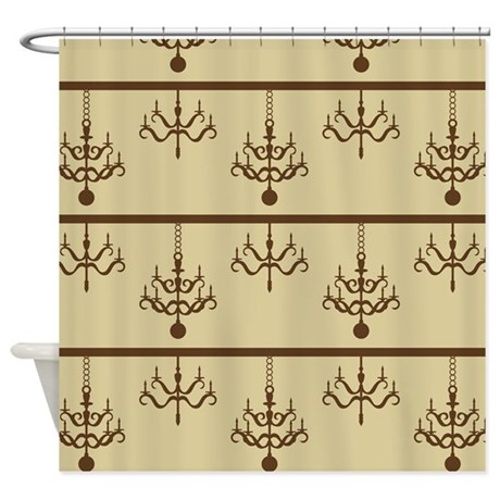 Cream And Brown Chandeliers Shower Curtain By Be Inspired By Life