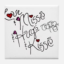 Love & Misses & Hugs & Kisses Tile Coaster