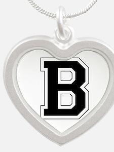 Collegiate Monogram B Silver Heart Necklace
