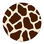 Giraffe Print Round Car Magnet