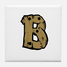 Drift Wood Monogram B Tile Coaster