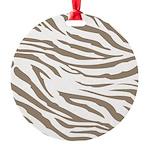 Cocoa Zebra Print Round Ornament