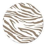 Cocoa Zebra Print Round Car Magnet