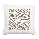 Cocoa Zebra Print Square Canvas Pillow