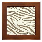 Cocoa Zebra Print Framed Tile
