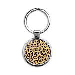 Cheetah Print Round Keychain