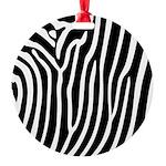 Black and White Zebra Print Round Ornament
