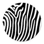 Black and White Zebra Print Round Car Magnet