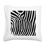 Black and White Zebra Print Square Canvas Pillow