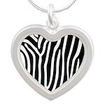 Black and White Zebra Print Silver Heart Necklace