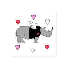 Rhino Cupid with Hearts Sticker