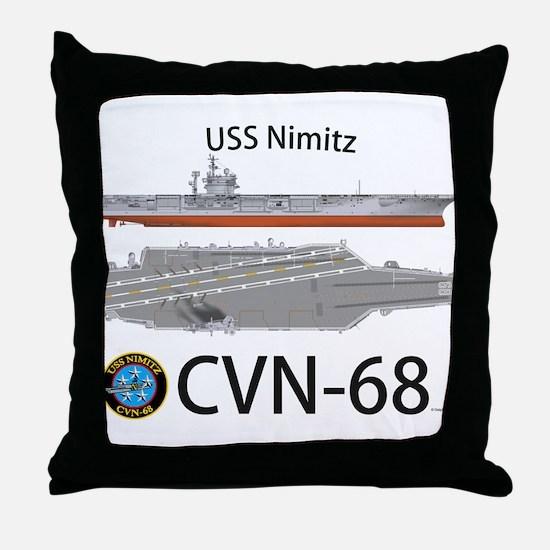 USS Nimitz CVN-68 Throw Pillow