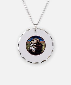 ST. ANTHONY OF PADUA STAINED GLASS WINDOW Necklace